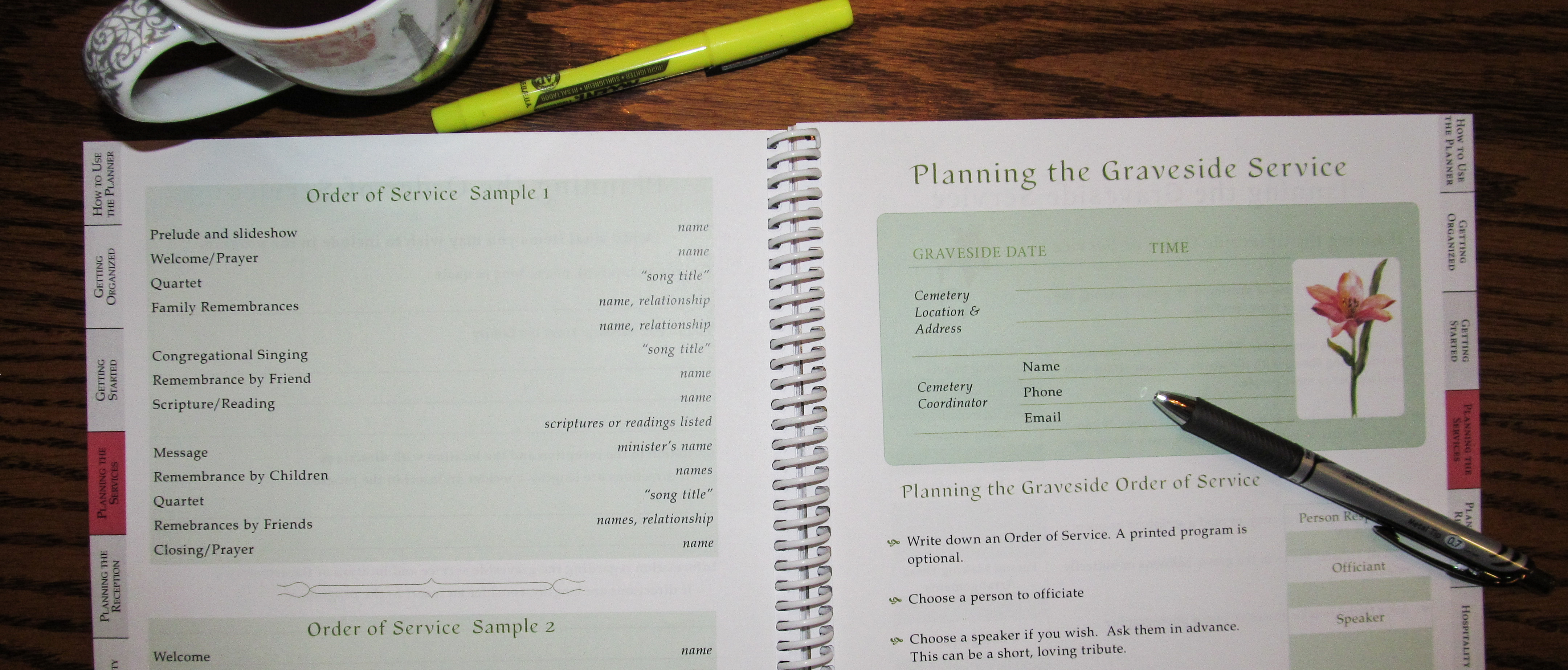 Funeral Planner Sample Pages