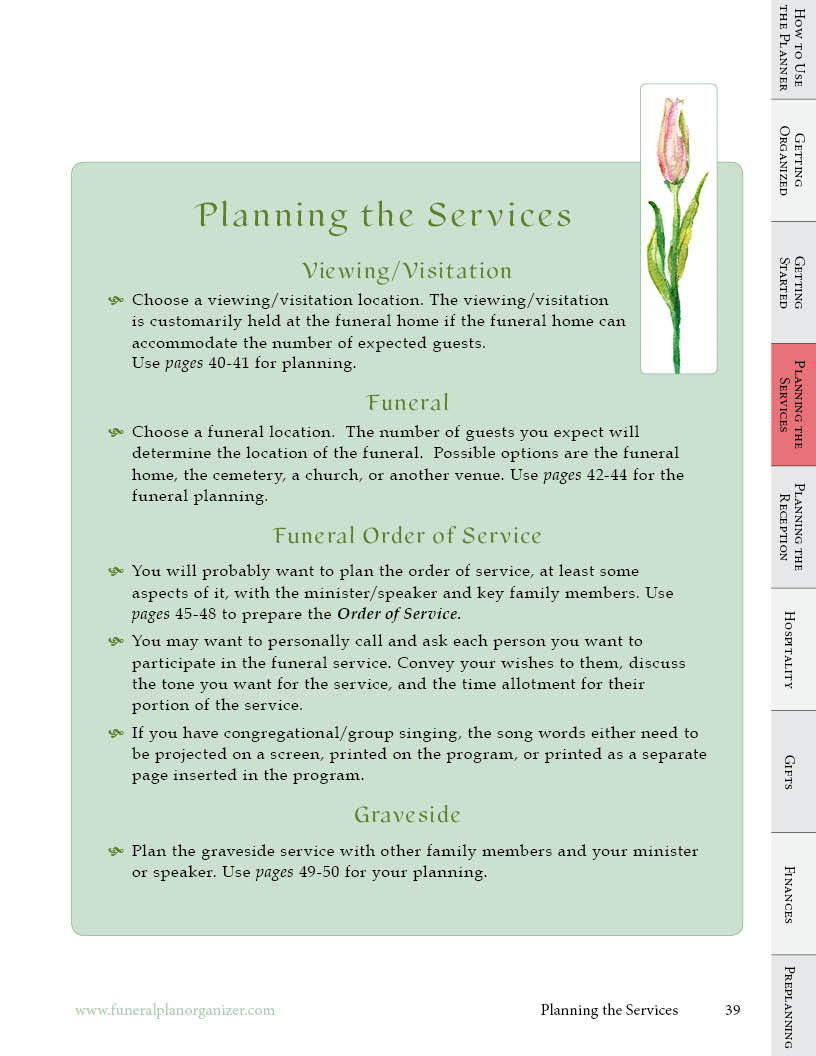 what do i do now planner for funeral viewing graveside services